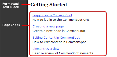 Page index element showing page descriptions