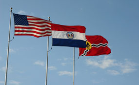 Picture of U.S., MO, and St. Louis flags
